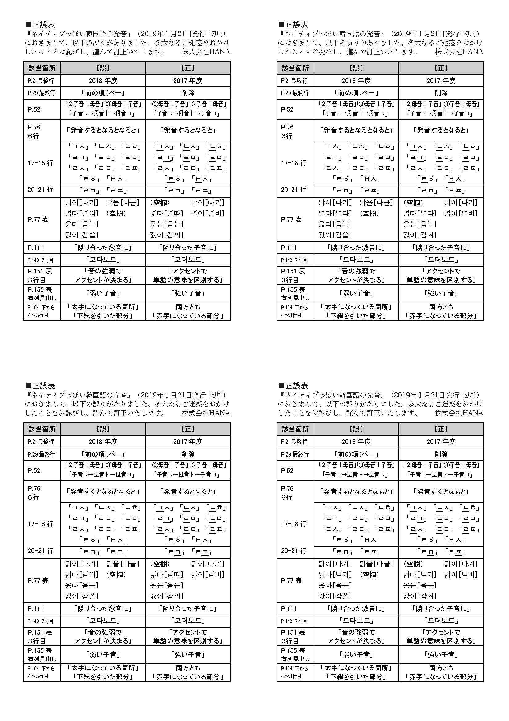 ネイティブっぽい韓国語の発音_初刷正誤表